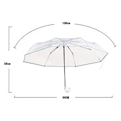 Paraguas Por FONK Plegable Automático Paraguas Transparente Varilla Telescópica Para Evitar La Columna Vertebral Portátil Paraguas