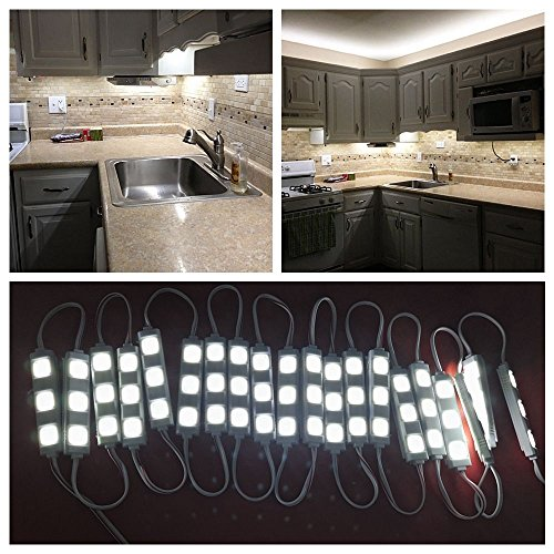 Led Kitchen Lights (Keyola Full set 10ft 60leds white Under Cabinet Lights Closet Kitchen Counter LED light with Brightness Dimmer (White))