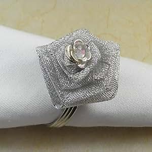 ZBHMB plata servilleteros anillo oro Rose, Organza banda, 4,5 cm, 12 unidades,, Round-Silver