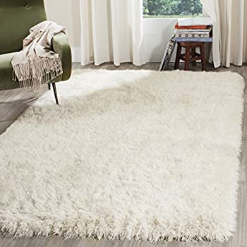 safavieh venice shag collection sg256p handmade pearl polyester area rug 8u0027 x 10u0027
