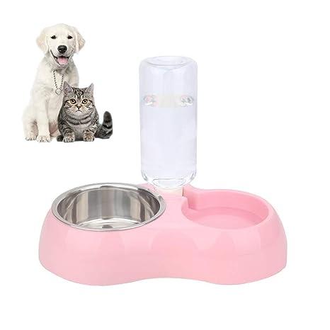 FONLAM Comedero Bebedero Automático para Perro Gato Dispensador Botella de Agua Comida Mascota Cachorro 2 en