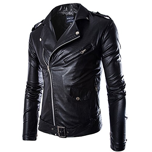 MAGE MALE Men's Leather Jacket Slim Fit Classic Faux Leather Motorcycle Jacket