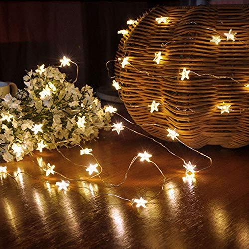 Tuscom Button Battery Pentagram Star Light Cozy String Fairy Lights for Xmas Window Bathroom Wedding Festival Holiday (3 Colors) (Yellow) by Tuscom@ (Image #5)
