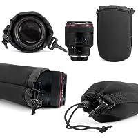 DURAGADGET Custom-fit Large Camera Lens Pouch Case for Sony SAL-70300G Lens in Black For M.ZUIKO DIGITAL ED 75-300mm II, AF ultra-rapide lenses