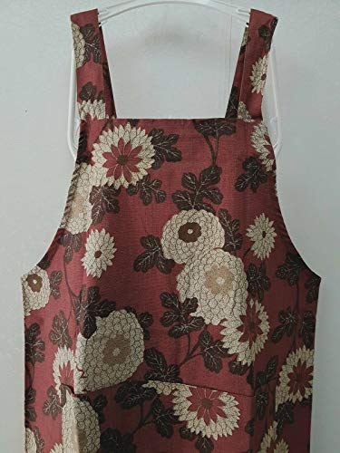 FidgetKute Japanese Style Shabby Floral Cotton Kitchen Baker Cafe Apron Pocket L34 Buttons Dull Red Base (Pattern B) One Size