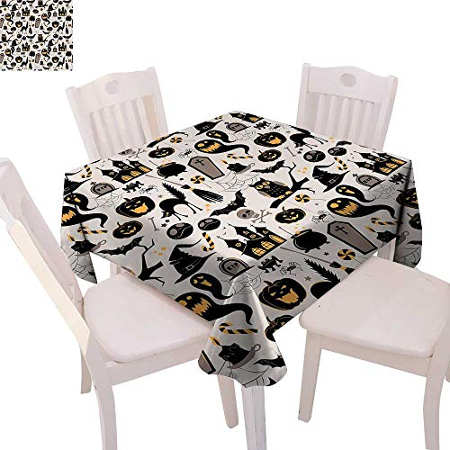 cobeDecor Vintage Halloween Printed Tablecloth Halloween Cartoon Jack o Lantern Tombstone Skulls and Bones Flannel Tablecloth 50