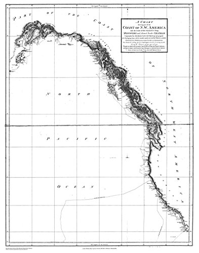 18 x 24 Canvas 1791 Alaska old nautical map drawing chart of Chart Shewing part of the Coast of N.W. America - by George Vancouver From J. Edwards, Pall Mall - Malls Vancouver