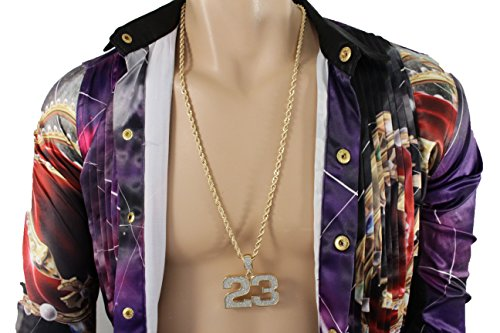 TFJ Men Hip Hop Fashion Necklace Long Metal Chains Big Number # 23 Urban Jewelry Las Vegas Gold