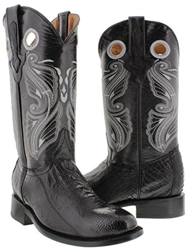 s Black Genuine Smooth Ostrich Leg Skin Leather Cowboy Boots Roper Toe 12.5 D (Smooth Mens Roper)