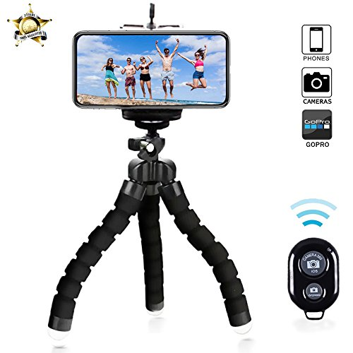 Phone Tripod with Bluetooth Remote Best Camera Holder and Phone Tripod for iphone Universal Smartphone Cell phone Camera by buinbiin