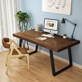 LITTLE TREE 55″ Rustic Computer Desk, Solid Wood Veneer + MDF Constructed Industrial Desk with Heavy-Duty Slanted Metal Base for Home Office (Dark Brown)