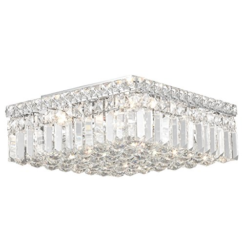 (Worldwide Lighting W33517C14 Cascade 4 Light Flush Mount Square Crystal Ceiling Light, Medium, Chrome Finish with Clear Crystal, 14