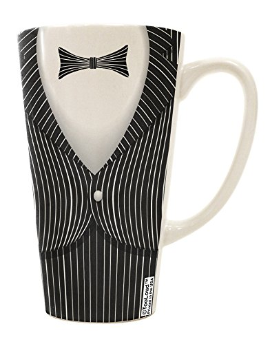 TooLoud Skeleton Tuxedo Suit Costume 16 Ounce Conical Latte Coffee Mug All Over Print