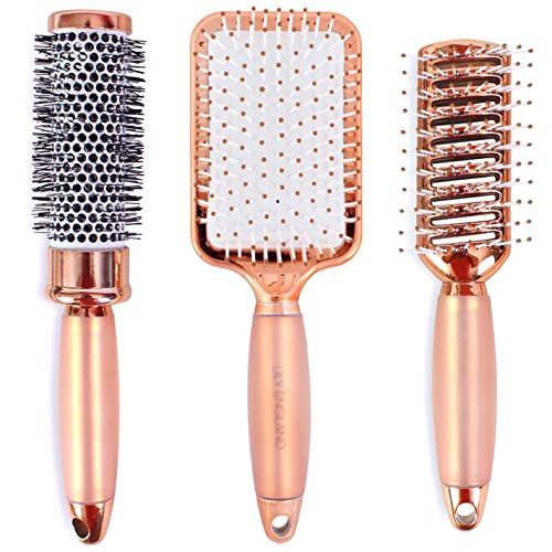 Lily England Rose Gold Hair Brush Set - Luxury Professional Hairbrush Gift Set for All Hair Types LilyEngland-3Piece-HBSet1