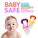 Baby Food Feeder - Tinabless Baby Fresh Fruit Feeder Teething Toys with Pacifier Clip Strap for Infant, Kids, Toddlers - L (2Pcs)