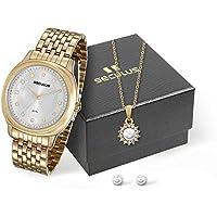 Kit Relógio Seculus Feminino Analógico Dourado 20509LPSVDS1K1 com Colar e Brincos