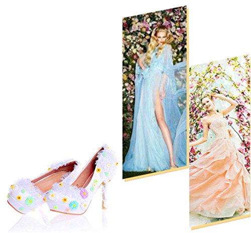 Ladies Pump Designer Stiletto Bride Good Wedding Heels Party Quality Shoes MNII Women White Wedding Flowers High Shoes 37 Sandals Lace Court Shoes d60nRfx5W