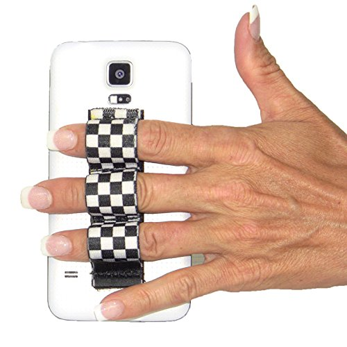 LAZY-HANDS 3-Loop Phone Grip - FITS MOST - BLACK/WHITE CHECKERS