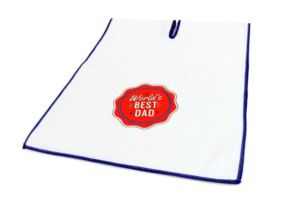 Center Cut Microfiber Golf Towel 16''x40'' (World's Best Dad) by Clothlete