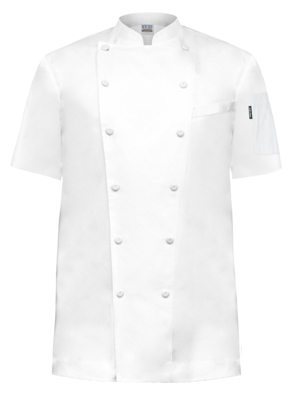 Newchef Fashion Prince White Egyptian Cotton Chef Coat Breast Pocket Short Sleeves M White by Newchef Fashion