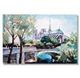 "In Liu Of Modern Oil Painting ""Bridge to Notre Dame"" (French Cityscape) Traditional European Artwork 