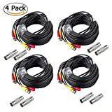 CANAVIS BNC Cable 59ft 2 in 1 Video Power Cable with BNC Connectors RCA Adapters Wires for CCTV Security Cameras 4 Pack Black