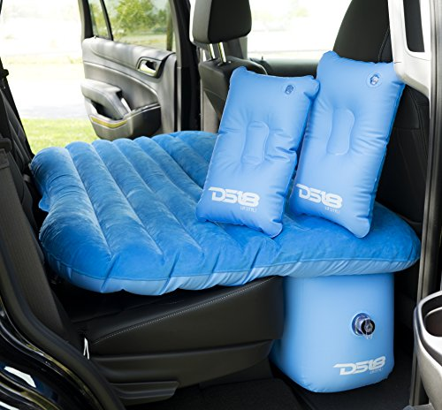DS18 AUTO-MAT/BL Blue Multifunctional Pet Friendly Mattress Inflated Bed Cushion Camping Universal SUV Car Back Seat, Pump for Travel with 2 Air Pillows ()