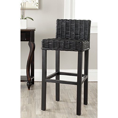 Safavieh Home Collection Cypress Black Wicker 30-inch Bar Stool