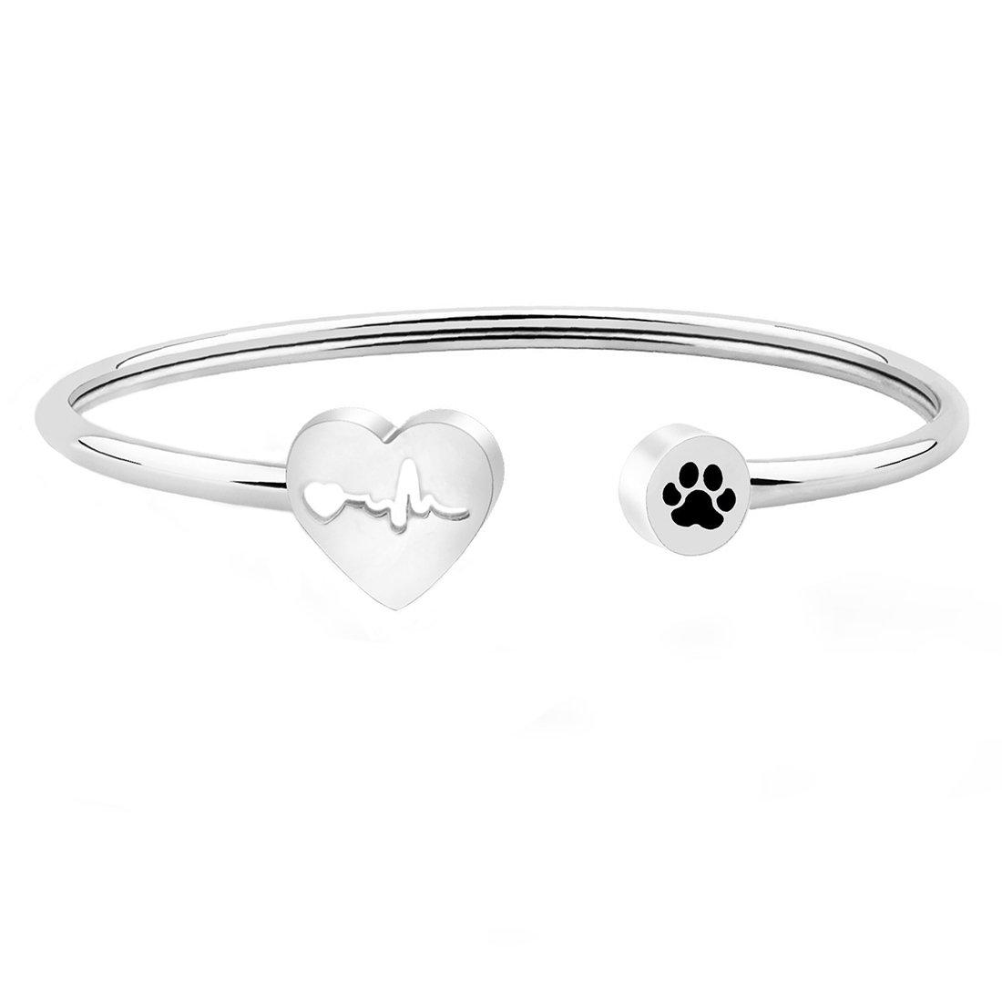 WUSUANED Heart Beat Dog Paw Cuff Bracelet Vet Tech Jewelry Gift for Veterinarian Nurse Vet Students (vet bracelet)
