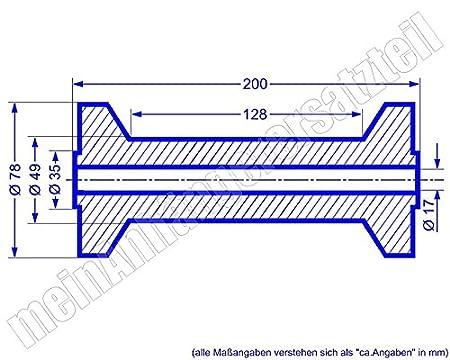 Gummi Kielrolle für Bootsanhänger Bootstrailer 196x75mm Bohrloch 17mm