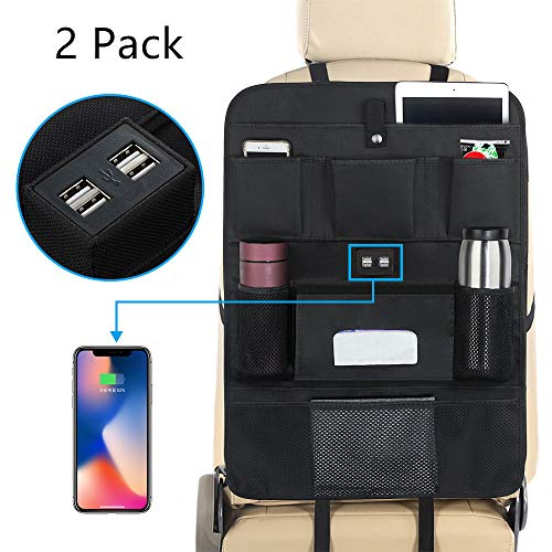 ROSI Car Organizer Kick Mats Car Seat Organizer for KidsVWaterproof Car Seat Protector 8 Pocket Travel Accessories Large Size Storage Bag with 4 USB Charger for Family Road Trip Business Travel(2 Pack