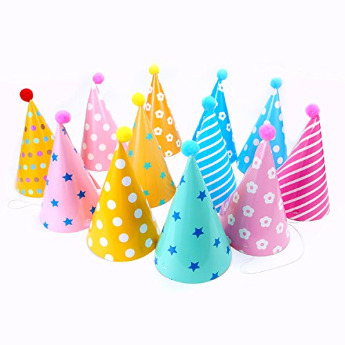 12PCS Party Hats Lovely Paper Cone Birthday For Children And Adults Fun