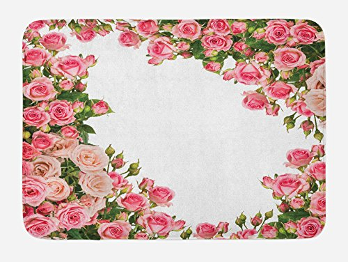 Bush Frame (Lunarable Rose Bath Mat by, Rose Bushes Frame with Bridal Themed Elements Park Summer Occasions Illustration, Plush Bathroom Decor Mat with Non Slip Backing, 29.5 W X 17.5 W Inches, Pink Green White)