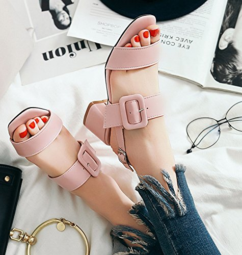 Plage Mode Sandales Boucle Bout Couleur Ouvert Femme Rose Unie Aisun Zn7x61TW
