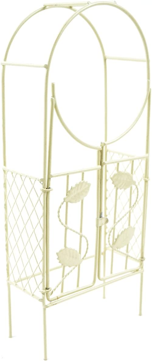 Touch of Nature Mini Iron Fairy Garden Arch with Gate, Cream