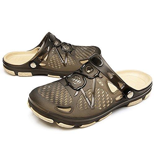 Techcity Unisex Garden Clogs Outdoor Walking Sandals Breathable Sport Slides Summer Non Slip Pool Beach Shower Slippers Shoes Black (Mens Garden Clogs)