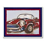 Stupell Home Décor Blue And Red Vintage Car Rectangle Wall Plaque, 11 x 0.5 x 15, Proudly Made in USA