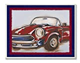 The Kids Room by Stupell Blue And Red Vintage Car Rectangle Wall Plaque, 11 x 0.5 x 15, Proudly Made in USA