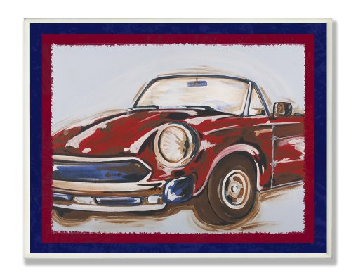The Kids Room by Stupell Blue And Red Vintage Car Rectangle Wall Plaque, 11 x 0.5 x 15, Proudly Made in USA by The Kids Room by Stupell