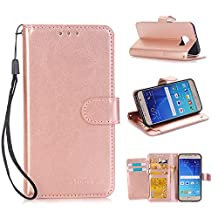 Samsung Galaxy S6 Wallet Flip Case,DLFcase [Stand Feature] Premium Protective PU Leather Flip Cover w/ Card Slot Side Pocket Magnetic for Galaxy S6 (Rose gold)