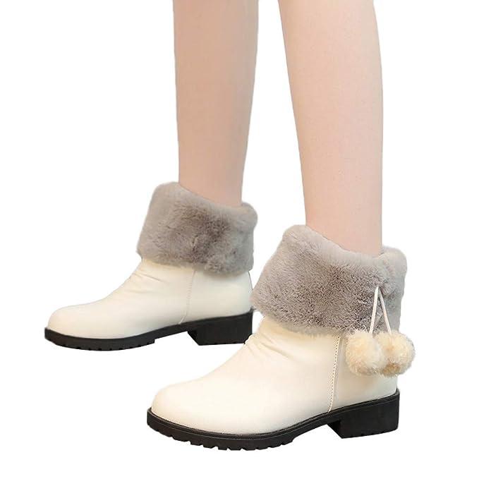 JiaMeng Mujer Retro Otoño Invierno Botas de Nieve sin Cordones con Tacones Cuadrados Mantenga cálidos los