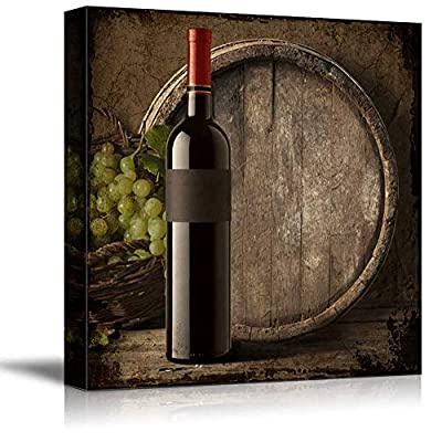 Square Country Style Wine Bottle with Grapes and Wooden Barrel