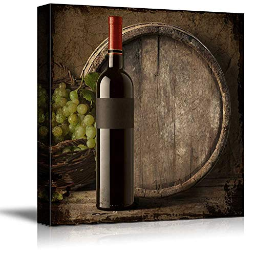 wall26 - Square Canvas Wall Art - Country Style Wine Bottle with Grapes and Wooden Barrel - Giclee Print Gallery Wrap Modern Home Decor Ready to Hang - 24x24 inches (Art Wine Bottle)