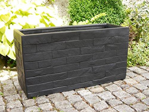 Pflanztrog WALL aus Fiberglas wie orig. Granitgestein 80x30x40cm in schwarz, Pflanzkübel, Pflanztröge, Blumenkübel, Blumenkasten, groß, xxl