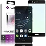 NALIA Screen Protector compatible with Huawei P9, 9H Full-Cover Tempered Glass Smart-Phone Protective Display Film, Durable LCD SaverProtection Armor Hard Foil, Shatter-Proof Front, Color:Black
