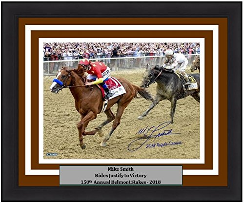 Autographed Triple Crown - Horse Racing Mike Smith Riding Justify Autographed 2018 Belmont Stakes 8x10 Framed and Matted Photo with 2018 Triple Crown Inscription