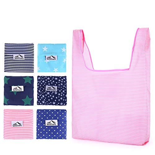 Foldable Reusable Grocery Bags,Shopping Bag Fits in Pocket, Portable Eco-Friendly Ripstop Nylon, Waterproof and Machine Washable,Durable and Lightweight(6 Pack)