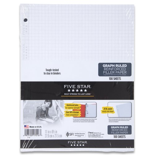 Five Star Filler Paper, Graph Ruled Paper, 100 Sheets/Pack, 11