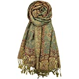 "Achillea Soft Silky Reversible Paisley Pashmina Shawl Wrap Scarf w/Fringes 80"" x 28"" (Sage Green)"