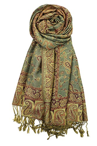 Achillea Soft Silky Reversible Paisley Pashmina Shawl Wrap Scarf w/Fringes 80'' x 28'' (Sage Green) by Achillea (Image #7)